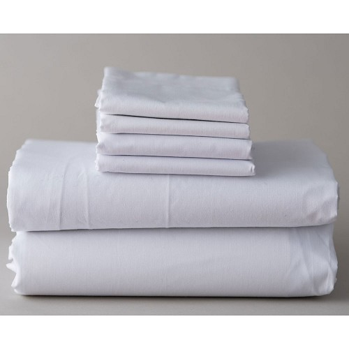 Thomaston Mills T-200 Fitted Sheets w/ Deep Pocket King 78x80x12 60% Cotton 40% Polyester White 2 Dz Per Case Price Per Dz